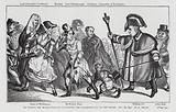 His Honour the Beadle (William IV) Driving the Wagabonds out of the Parish, satire on the defeat of the Tories by the …
