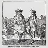 Westminster – the Two Shilling Butcher, satire on the 1747 general election depicting Lord Trentham, candidate for the …