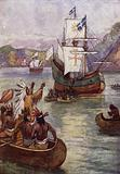 French explorer Jacques Cartier's ships on the St Lawrence River, Canada, 1535