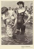 Group of men watching two women bathing