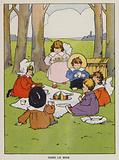 Children eating a picnic in the woods