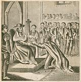 Pandulph, the Pope's legate, receiving the submission of King John, 1213