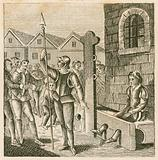 Perkin Warbeck, pretender to the throne of England, in the stocks, 1497