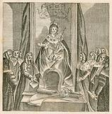 Queen Anne delivering her first speech to Parliament, 1702
