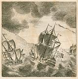 The Old Pretender's fleet in a tempest, 1708