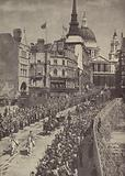 King George VI and Queen Elizabeth leaving St Paul's Cathedral after the service of thanksgiving for victory in World …