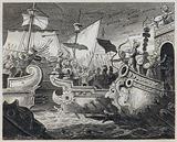 Regulus destroying the Carthaginian fleet, Battle of Cape Ecnomus, 256 BC