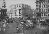 Traffic on Trafalgar Square, London