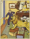 Lion on the rampage in a room