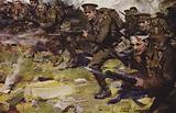 British soldiers on the attack, World War I, 1914–1918