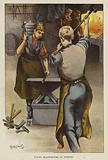 Young blacksmiths at Dr Barnardo's children's home, Stepney Causeway, London