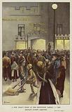 Guests arriving at a Dr Barnardo's New Year's feast at Edinburgh Castle, Limehouse, London