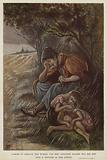 Poor homeless mother and her children sheltering from the rain beneath a hedge