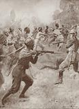 Indian soldiers attacking a German position, France, World War I, 1914