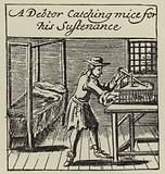 A debtor catching mice for his sustenance