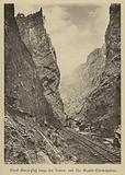 Railway line through the Royal Gorge of the Arkansas River on the Denver and Rio Grande Western Railroad, Colourado, USA
