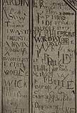 Eton College: Carvings on a panel of a desk in Upper School