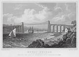 Menai Bridge, from the Anglesea Side, uniting the Isle of Anglesea with Caernarvonshire