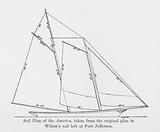 Sail Plan of the America, taken from the original plan in Wilson's sail loft at Port Jefferson