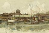 Liverpool: Part of Salthouse Dock, with Custom House