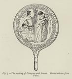 The meeting of Dionysus and Semele, Bronze mirror from Vulci