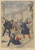 French soldiers and police killing an escaped cow in Limoges