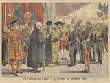 The Lord Mayor of London presenting President Loubet of France with a gold casket