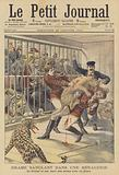 A puma attacking an animal tamer in a menagerie