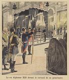 King Alfonso XIII of Spain before the coffin of his grandmother, Queen Isabella II