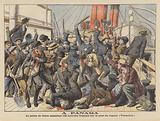 Police attacking French workers on board the steamer Versailles at Colon, Panama