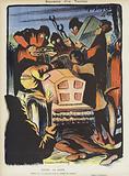 Satire on the 1903 Paris-Madrid motor race. Illustration for Le Rire.
