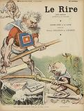 Caricature of French politicians Camille Pelletan and Edouard Lockroy. Illustration for Le Rire