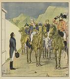 L'amiral Taylor, avec un nombreux etat-major, se presente a Longwood pour voir l'Empereur