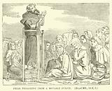 Friar preaching from a Movable Pulpit