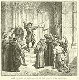 Aske affixing his proclamation to the door of York Cathedral