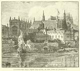 Westminster Hall from the river, in the time of Charles I