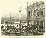Inondation a Venise, Aspect de la Piazzetta San-Marco, pendant la haute maree du 16 janvier