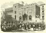 Evenements d'Espagne, Valence, L'archeveque de Valence exhortant les combattants a la conciliation