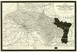 Carte indiquant l'evacuation des departements Francais par l'armee allemande, ainsi que la partie …