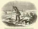 Chippeway Indians fishing in the ice, Lighthouse on the Shore of Lake Huron in the distance