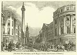 Fish Street Hill, Monument, and St Magnus' Church, with Procession of Firemen