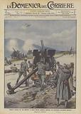 Contro il nemico che vien dall'alto, le nostre batterie antiaeree arrestano una incursione di aeroplani austriaci