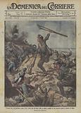 L'eroica fine del mutilato Enrico Toti, ferito per la terza volta, si alza e scaglia la sua …