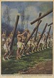 Una novita ginnastica per i marinai tedeschi, l'esercizio – di origine scozzese – del lancio dei tronchi d'alberi