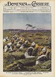 Un gruppo di valorosi Dubat, i bersaglieri neri della Somalia, di guardia a un posto avanzato nei …