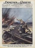 Durante un assalto a un fortino dinanzi a Tobruk, un nostro fante, per meglio colpire …