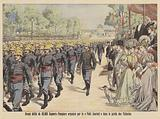 Grand parade of 20,000 firemen through the Jardin des Tuileries in Paris