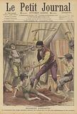 The proprietor of a travelling circus beating children as he tries to train them as jugglers and acrobats