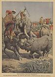 A rhinoceros attacking an elephant in India