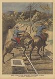 Two sentries shooting at would-be saboteurs on the French railways
